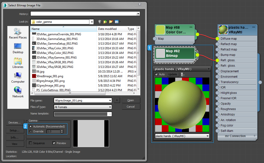 Bitmap glossiness for Vray material