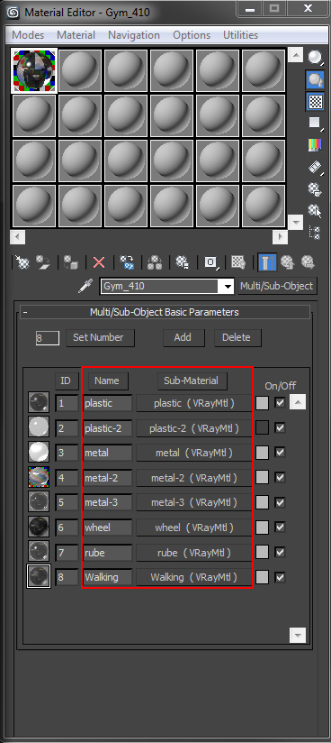 how to use sub layers in material editor for Scene Management