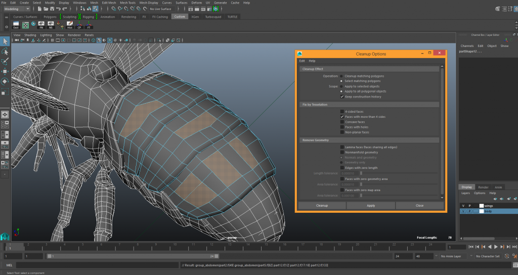 how to see N-Gons in Maya