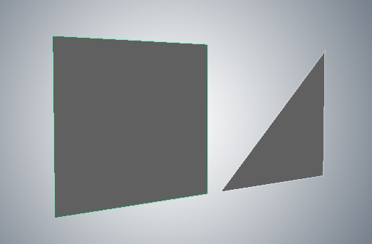 Quadrilateral polygon (4 sides) and face (3 sides)