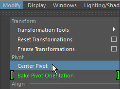 how to center at the origin in Maya