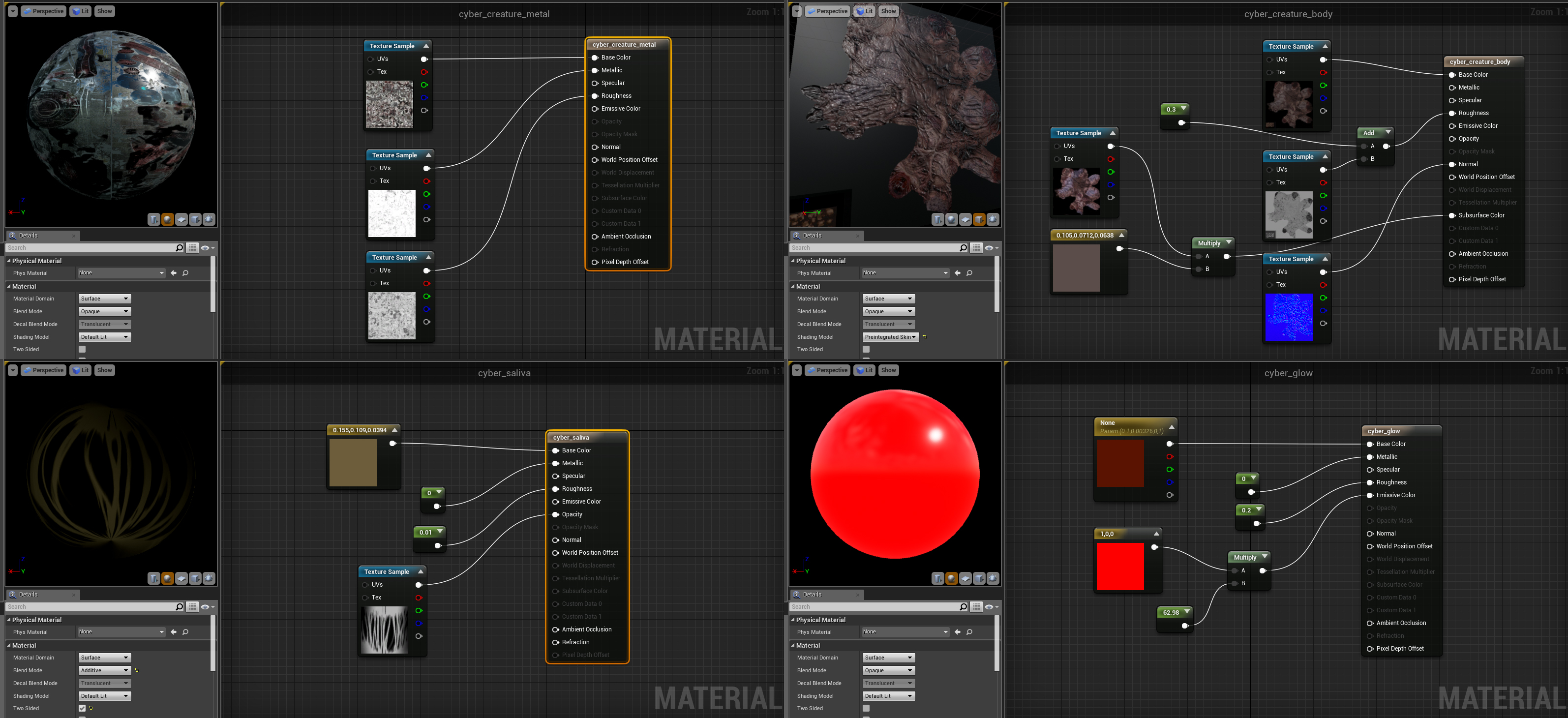 Material preview shots for Unreal