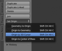 how to center at the origin in Blender