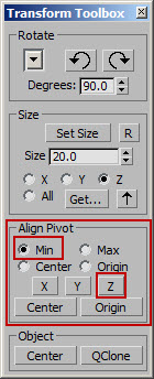 how to center at the origin in 3ds Max